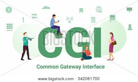Cgi Common Gateway Interface Concept With Big Word Or Text And Team People With Modern Flat Style -