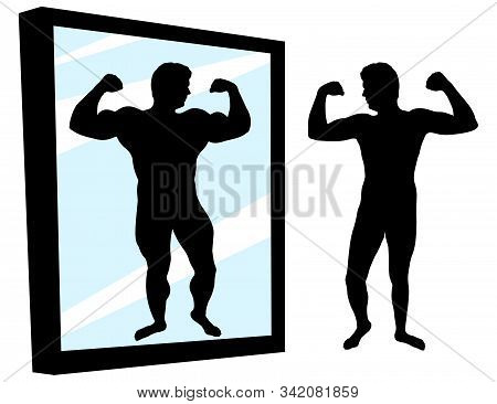 Strong And Weak Person. Protein Result. Man Stands In Front Of A Mirror With High Self-esteem. Muscl