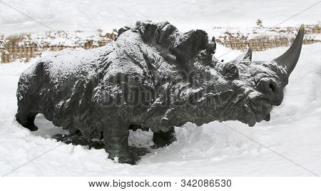 Khanty - Mansiysk, Russia - December 29, 2019: Sculpture Of A Wooly Prehistoric Rhinoceros In Archeo
