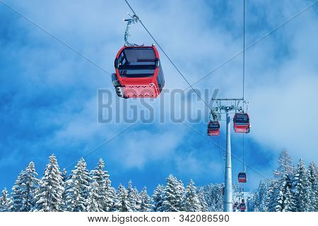 Red Cable Cars In Zillertal Arena Ski Resort Tyrol Austria