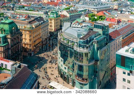 Panoramic Aerial View From Stephansdom To Old City Of Vienna