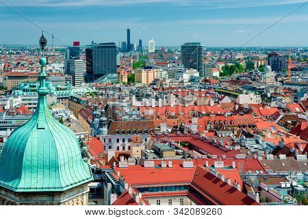 Panoramic Aerial View From Stephansdom On Old City Center Vienna