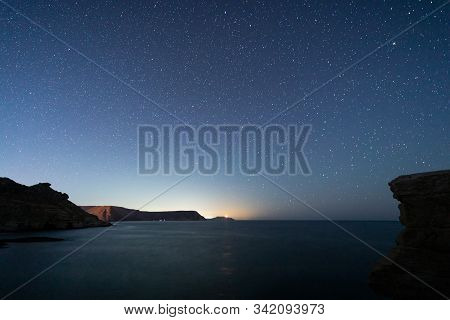 Night Landscape In Playazo De Rodalquilar. Natural Park Of Cabo De Gata. Andalucia. Spain.