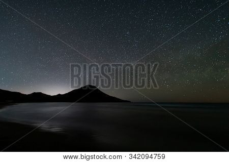 Night Landscape On Genoveses Beach. Natural Park Cabo De Gata. Andalusia. Spain.