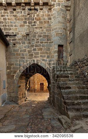 Ancient Door Of The Medieval Walls In The Historical Town Of San Felices De Los Gallegos. Salamanca.