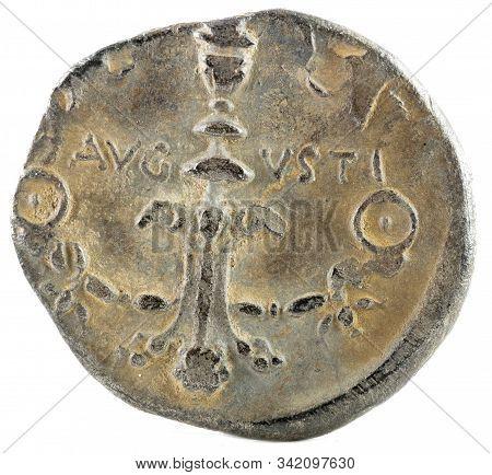 Roman Republic Coin. Ancient Roman Silver Denarius Of The Family Julia. Caius Caesar.  Reverse.