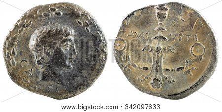 Roman Republic Coin. Ancient Roman Silver Denarius Of The Family Julia. Caius Caesar.