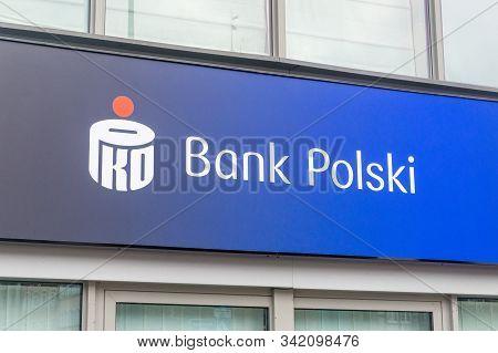 Gdansk, Poland - December 24, 2019: Logo And Sign Of Pko Bank Polski. Pko Bank Polski Also Known As