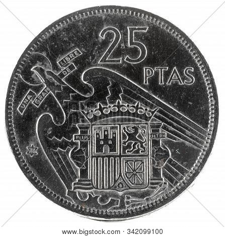 Old Spanish Coin Of 25 Pesetas, Francisco Franco. Year 1957, 74 In The Star. Reverse..