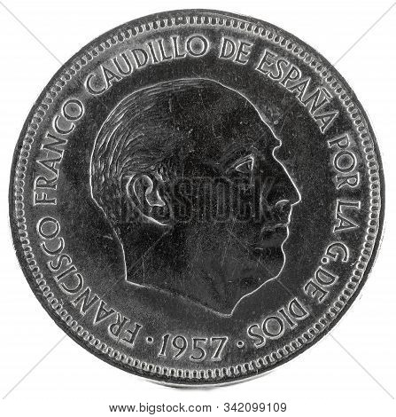 Old Spanish Coin Of 25 Pesetas, Francisco Franco. Year 1957, 74 In The Star. Obverse.