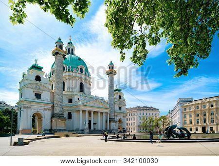 Karlskirche Church On Karlsplatz In Vienna Of Austria