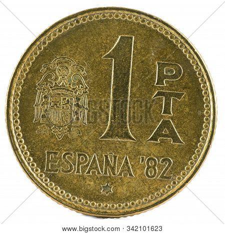 Old Spanish Coin Of 1 Peseta, Juan Carlos I. Year 1980, 81 In The Star. Reverse.