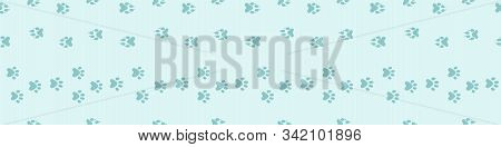 Footpath Trail Of Animal Snow Seamless Pattern. Dog Or Cat Paws Print Vector Isolated On White Backg