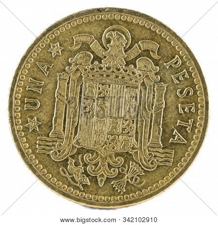 Old Spanish Coin Of 1 Peseta, Francisco Franco. Year 1966, 19 74 In The Stars. Reverse.