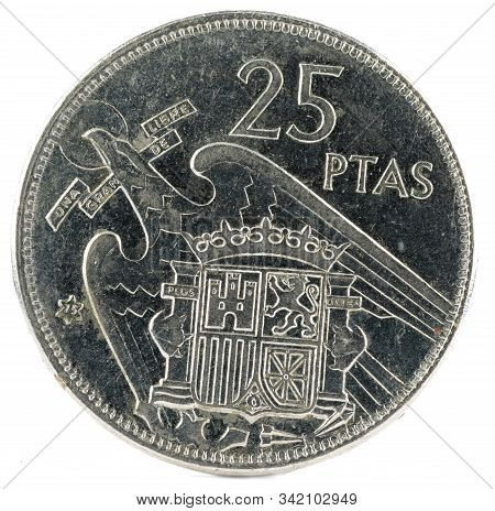 Old Spanish Coin Of 25 Pesetas, Francisco Franco. Year 1957, 75 In The Star. Reverse.