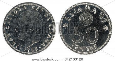 Old Spanish Coin Of 50 Pesetas, Juan Carlos I. Year 1980.  19 81 In The Stars. España 92.