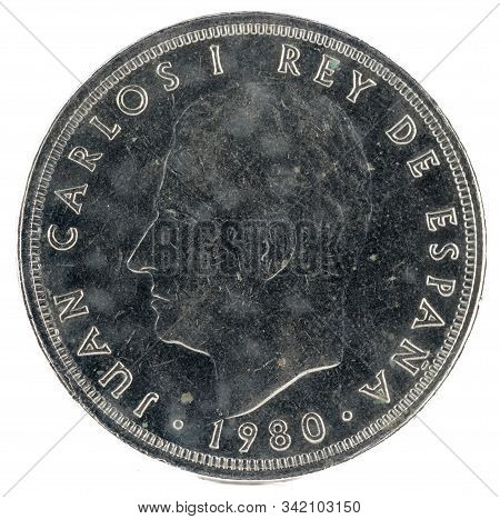 Old Spanish Coin Of 50 Pesetas, Juan Carlos I. Year 1980.  19 81 In The Stars. España 92. Obverse.