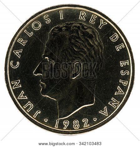 Old Spanish Coin Of 100 Pesetas, Juan Carlos I. Year 1982. Obverse.