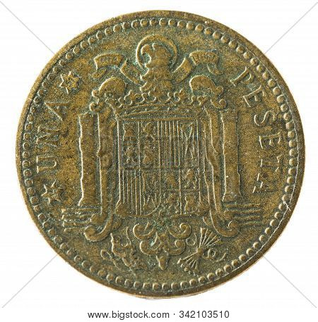 Old Spanish Coin Of 1 Peseta, Francisco Franco. Year 1947, 19 51 In The Stars. Reverse.