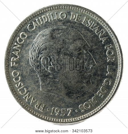 Old Spanish Coin Of 25 Pesetas, Francisco Franco. Year 1957, 69 In The Star. Obverse.