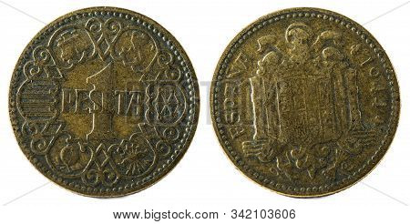 Old Spanish Coin Of 1 Peseta. Francisco Franco. Year 1944.