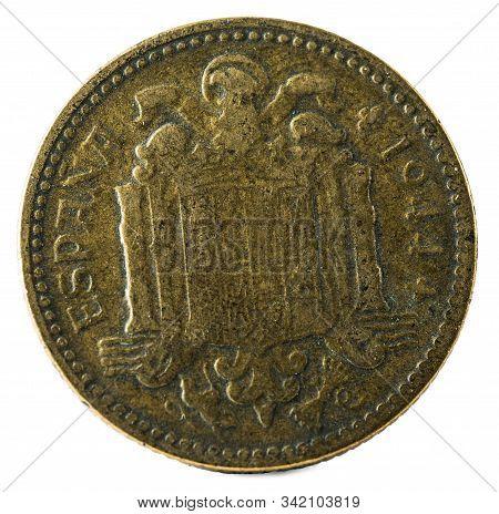 Old Spanish Coin Of 1 Peseta. Francisco Franco. Year 1944. Reverse.