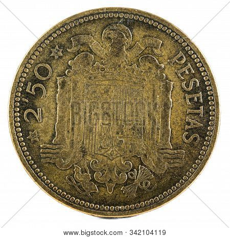 Old Spanish Coin Of 2,50 Pesetas, Francisco Franco. Year 1953, 19 54 In The Stars. Reverse.