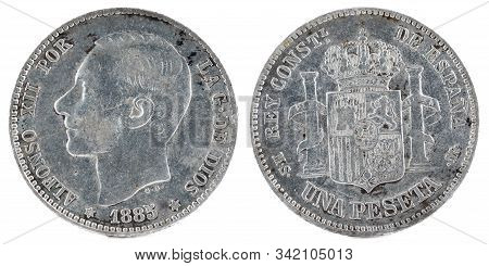 Ancient Spanish Silver Coin Of The King Alfonso Xii. 1 Peseta. 1885, 18 85 In The Stars.