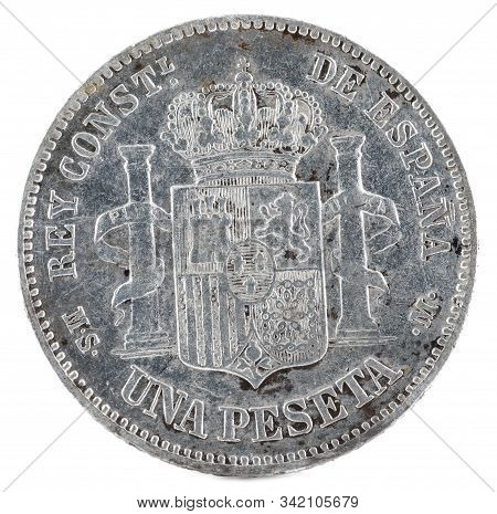 Ancient Spanish Silver Coin Of The King Alfonso Xii. 1 Peseta. 1885, 18 85 In The Stars. Reverse.