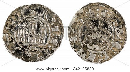 Ancient Medieval Fleece Coin Of The King Alfonso X. Pepion. Spain.
