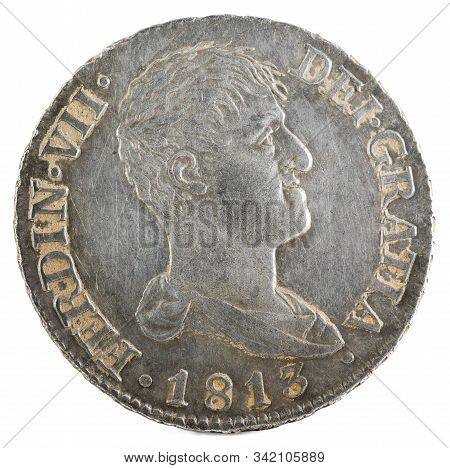 Ancient Spanish Silver Coin Of The King Fernando Vii. 1813. Coined In Madrid. 2 Reales. Obverse.