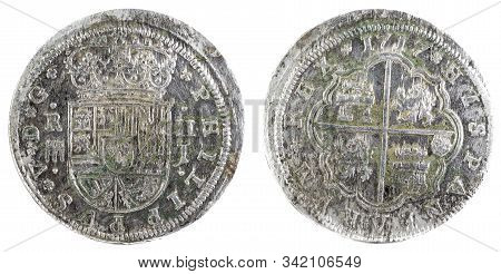 Ancient Spanish Silver Coin Of The King Felipe V. 1717. Coined In Segovia. 2 Reales.