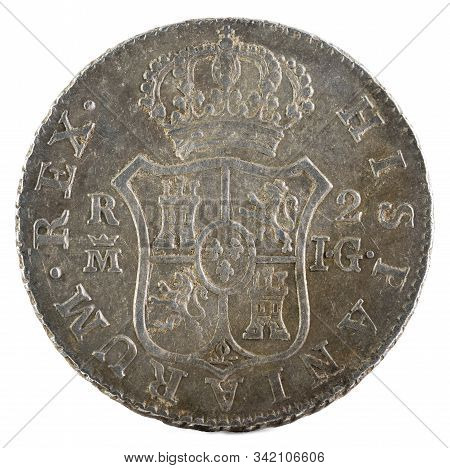 Ancient Spanish Silver Coin Of The King Fernando Vii. 1813. Coined In Madrid. 2 Reales. Reverse.