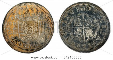Ancient Spanish Silver Coin Of The King Felipe V. 1719. Coined In Segovia. 2 Reales.