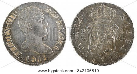 Ancient Spanish Silver Coin Of The King Fernando Vii. 1813. Coined In Madrid. 2 Reales.