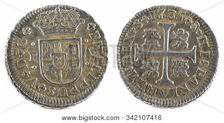 Ancient Spanish Silver Coin Of The King Felipe V. 1735. Coined In Sevilla. Medio Real.