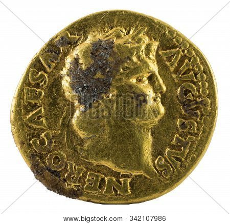 Ancient Roman Gold Aureus Coin Of Emperor Nero. Obverse.