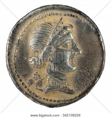 Roman Republic Coin. Ancient Roman Silver Denarius Of The Family Julia. Julius Caesar. Obverse.