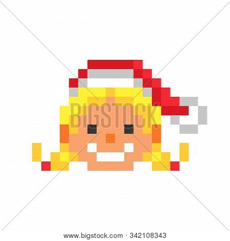 Happy Smiling Santa Claus' Daughter  In A Red Christmas Hat, Pixel Art Character Isolated On White B