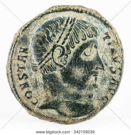 Ancient Roman Copper Coin Of Emperor Constantine I Magnus. Obverse.