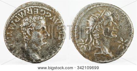 Ancient Roman Silver Denarius Coin Of Emperor Caligula With Augustus Deified.