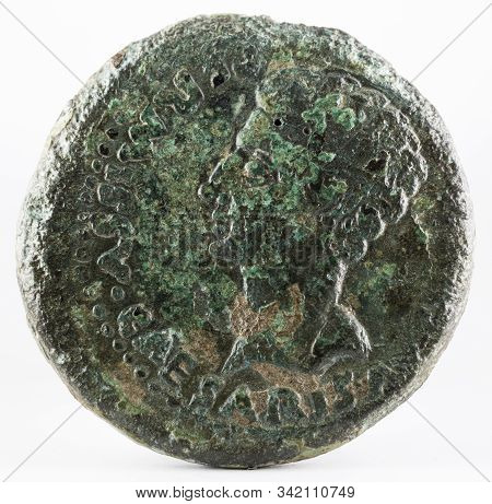 Ancient Roman Bronze Dupondius Coin Of Ebora. Coined By Emperor Augustus. Obverse.