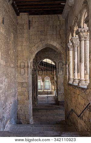 Atrium In The Church Of San Martin. Romanesque Architecture In Segovia. Spain.