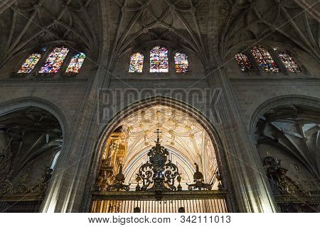 Segovia. Spain. - October 17, 2017:  Stained Glass Windows In The Cathedral Of Segovia. Spain.