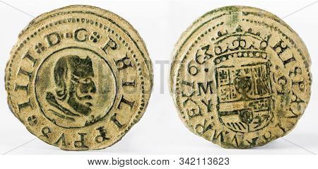 Ancient Spanish Copper Coin Of King Felipe Iv. Coined In Madrid In The Year 1663. !6 Maravedis.
