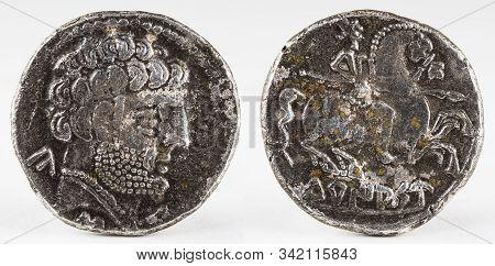 Ancient Turiaso Iberian Spain Silver Denarius. Obv. Bearded Male Head Right. Rev. Rider Right, Holdi