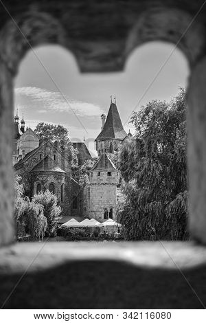 Magical Fairy Tale Castle. Fairy Tale Concept. Different View Of Vajdahunyad Castle In The City Park