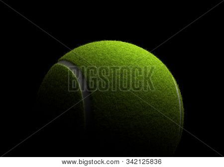 Single Tennis Ball On Black Background 3d Rendering