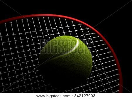Tennis Ball And Racket On Black Background 3d Rendering
