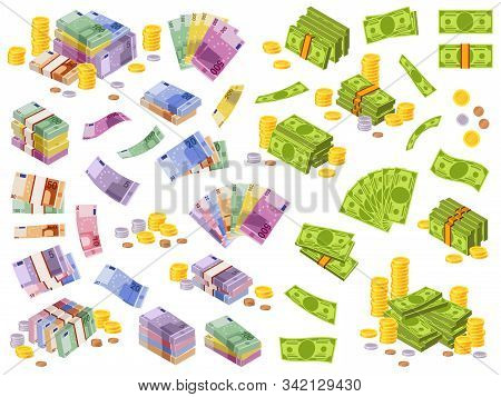 Dollar And Euro Banknotes. Isometric Cash Money, Various Currencies Dollars And Euros Bundles And Co